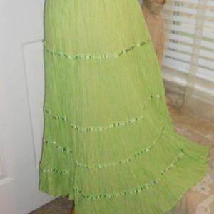 Green ruffled long skirt